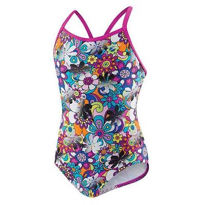 NEW Girl's Speedo Girl's Thin Strap One Piece Swimsuit Mulit Color Flowers NWT