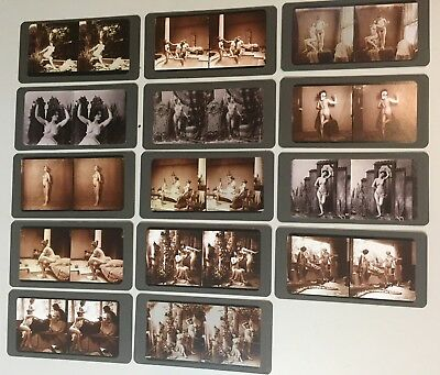 LOT of 14 Risqué, Nude Young Ladies Stereo View Reprint w Antique Viewer