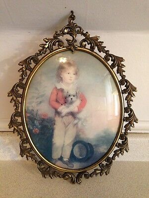"""Antique Ornate 16"""" X 12"""" Brass Convex Glass Picture Frame With Portrait Of Girl"""