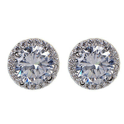 18K White Gold Plated Crystal Zircon Inlaid Ear Stud Earrings Jewelry For Lady