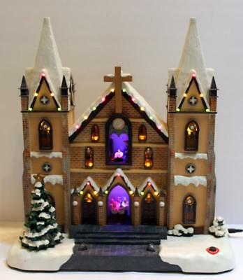 Lighted Church Cathedral with Nativity Scene & Choir Singing 3 Christmas Songs