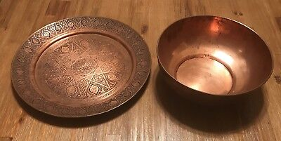 Vintage Antique Persian Copper Tray & Bowl Isfahan Signed
