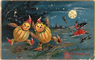 RAPHAEL TUCK & SONS SERIES 150. HALLOWEEN POSTCARD, TWO JOLs CHASED BY WITCH.