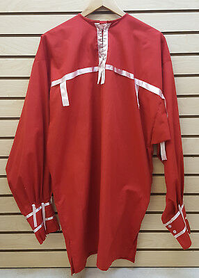 Nice Xl Red Cotton Native American Indian Long Sleeve Ribbon Dance Shirt