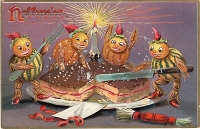 RAPHAEL TUCK & SONS SERIES 150. HALLOWEEN POSTCARD, FOUR JOLs CUTTING CAKE.