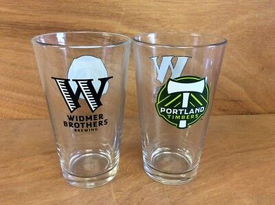 Widmer Brothers Portland Timbers Beer 16oz Pint Glass - Set of 2 Glasses - New