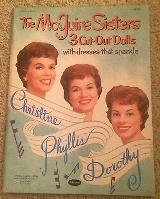 vtg original the mcguire sisters paper dolls book tri folder only