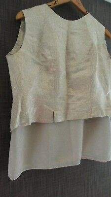 Vintage skirt and top. Silver. 1960s. Size 12-14