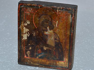 ORIGINAL Antique Icon 19c ! Russian Orthodox Hand Painted Wood OLD RARE Century