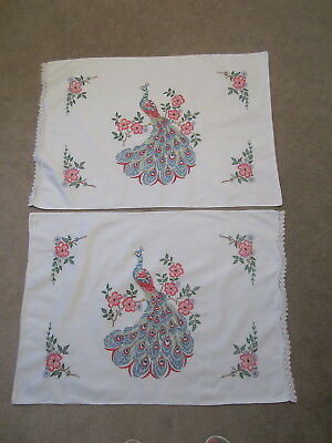 Gorgeous Vintage  Crocheted Embroidered  Pillowcases Peacocks  Flowers