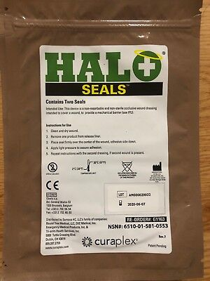 Halo Chest Seals 2 Per Package EXP: 2020-08 Occlusive Dressing