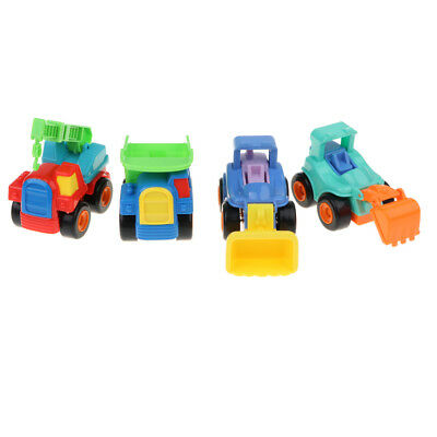 4Pcs Plastic Mini Friction Powered Engineering Vehicles Toy Set Kids Gift
