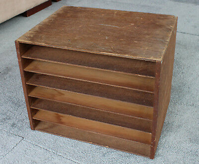 Vintage Retro DOCUMENT TRAY Ply Timber 7 tier filing paper