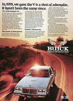 1982 BUICK REGAL TURBO Genuine Vintage Advertisement ~ Turbocharged V6