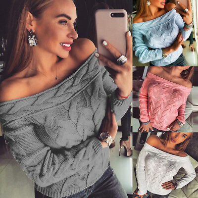 Beauty Women Off Shoulder Chunky Knitted Jumper Ladies Sweater Cardigan Pullover