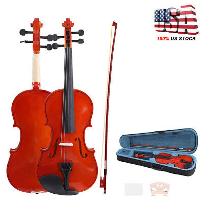 Full Size 4/4 Electric Natural Acoustic Violin Basswood Fitted with Case + Bow