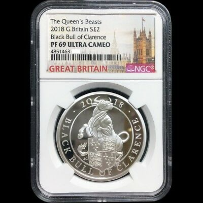 UK Queen Beasts 2018 Great Britain Black Bull 1oz Silver Proof Coin NGC PF 69 UC