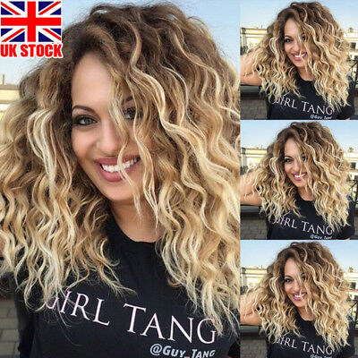 UK Womens Ombre Blonde Black Curly Afro Synthetic Hair Wigs Natural Wavy Wig+Cap