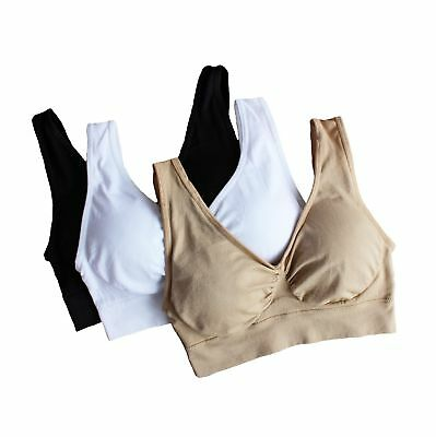 58f19781fc Cabales Women s 3-Pack Seamless Wireless Sports Bra with Removable Pads  X-Large