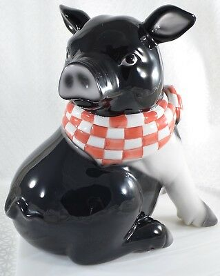 "Ceramic HAMPSHIRE PIG Cookie Jar Black & White, Red Bandana 10"" Piglet Piggy Hog"