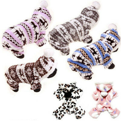 Pets Dog Jumpsuit Pajamas Hoodie Puppy Cat Jumper Warm Clothes Outfit Costume .