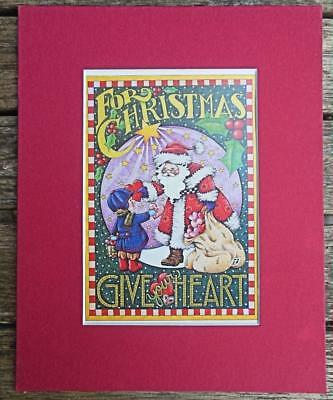 """Mary Engelbreit Print Matted 8 x 10"""" """"For Christmas Give Your Heart"""" Santa"""