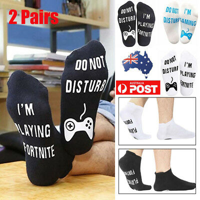 2 Pair Novelty Sports Socks DO NOT DISTURB/I'M PLAYING Fortnite Gamer Xmas Gift