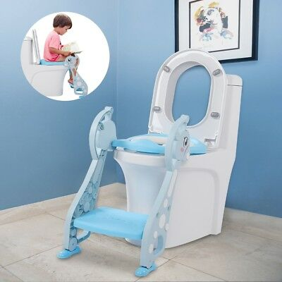 Kids Potty Training Seat Soft with Step Stool Ladder Child Toddler Toilet Chair