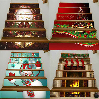 Christmas Decorative Stair Decal Stairway Stickers Family Stair Riser XMAS Decor