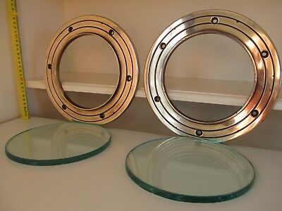 2x Vintage Brass PORTHOLES Large Heavy 240x10-15mm w' Thick 10mm Glass Nautical