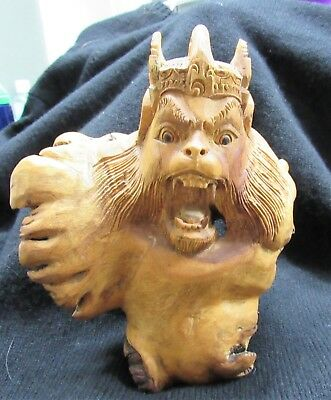 Antique Monkey Face Hand Carved From Root Amazing Detail Rare