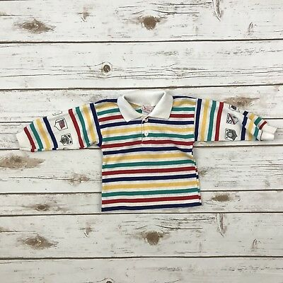 bdefc0e85 BUSTER BROWN Boys Size 12m White Striped VINTAGE Long Sleeved Polo Shirt