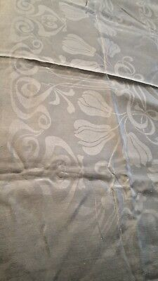 "White Irish linen Tulip double Damask 71"" x 101"" Tablecloth vtg"