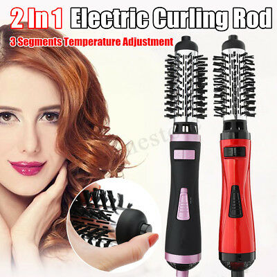 2 In1 Electric Hair Curling Rod Brush Multifunctional Rotating Wand Dryer Roller