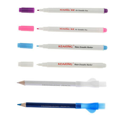 6pcs Tailors Chalk Pens and Air Water Erasable Pens for Fabric Cloth Marking