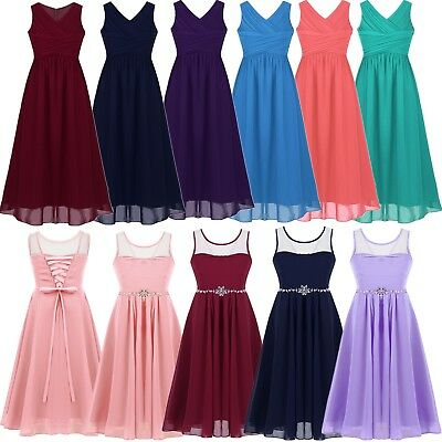 Girls Kids Flower Party Princess Formal Wedding Bridesmaid Gown Long Dress 4-14