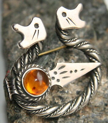 Antique Vintage Ethnic Silver Tone Brooch Pin Fibula With Amber