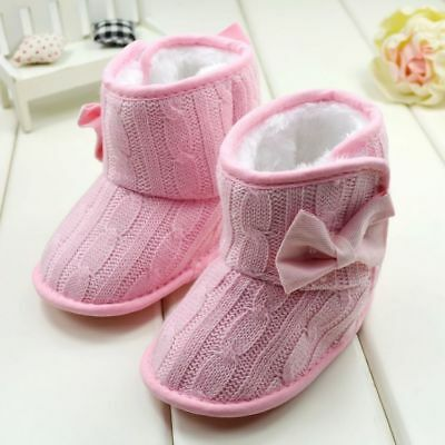 US Newborn Baby Girl Winter Warm Snow Boots Toddler Infant Soft Sole Shoes 0-18M