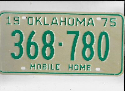 """OKLAHOMA 1975 license plate """"368-780"""" *MINT*MOBILE HOME*(just dropped the price)"""