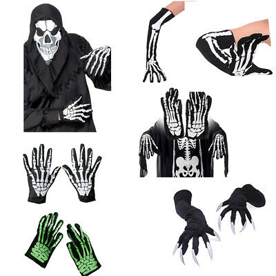 Unisex Halloween Skeleton Ghost Claw Gloves Cosplay Party Decor Fancy Dress USA
