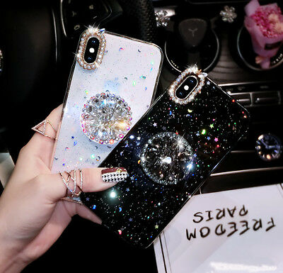 Bling Diamond Crystal Ring Holder Stand Soft Case Cover For iPhone Xs Max 8 Plus