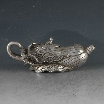 Chinese Silvering Copper Cabbage Teapot Made During The Qianlong Period
