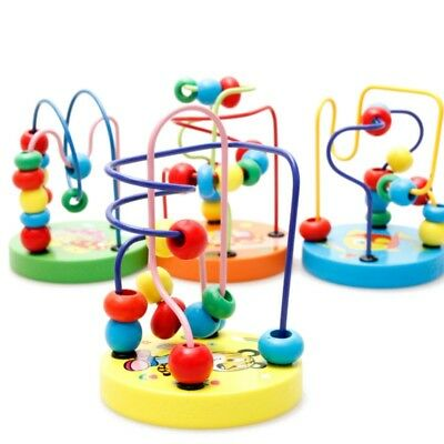 Children Kids Baby Colorful Wooden Mini Around Beads Educational Game Toys