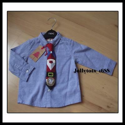 NEXT Baby Boys Christmas Clothes 9-12 Months Pale Blue Xmas Shirt & Musical Tie