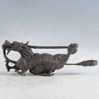 Rare Collectibles Chinese Old Style Brass Handmade Dragon Lock With Key