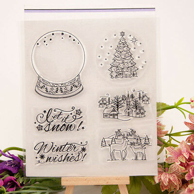 Christmas Crystal ball transparent Silicone Clear Stamp Scrapbook Album Decor TI