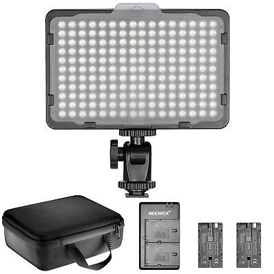 Neewer 176 LED Dimmable Camera Video Light w/ NP F550 Battery Charger Set & Case