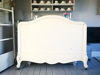Stunning Original Antique Vintage French Kingsize Shabby Chic Bed Headboard.