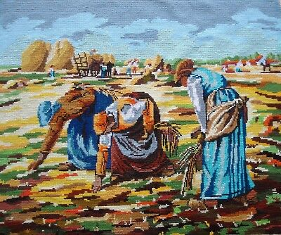 Vintage Cross Stitch Tapestry Picture Unframed The Gleaners By Millett