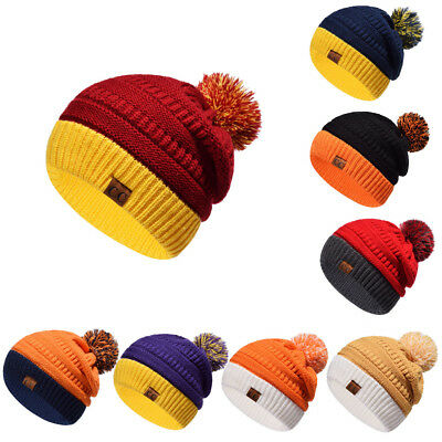 Womens CC Knitted Beanie Winter Hats Cap Skully Trendy Warm Chunky Ski Cap Color
